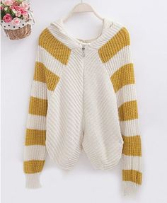Hooded Cardigan with Stripes in Contrast Color - Knitwear - Clothing