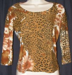 $10.99 Suzie In The City Animal Print Floral Brown Black Stretch 3/4 Sleeve Top PS S