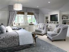 such a romantic and elegant style bedroom love the blues grays and purples