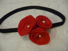 Red Flower with Pearl Headband Each flower is been made of very light fabric and in the centre of each flower a real pearl has been added! Size of each flower: 2 - 3 cm colour: Hot Red  C$15.55