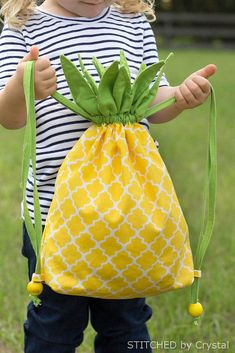DIY Pineapple Drawstring Backback. What a cute handmade backpack for any child!. See the directions