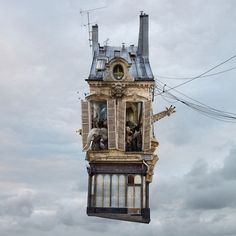 The Flying Houses series started in 2007, is a poetic view on popular Parisian suburbs – Ménilmontant in particular – where Laurent Chéhère lives. « I wanted to tell the true or invented story of those sad and battered anonymous houses and give them an identity. » In that same spirit, he starts to take pictures of the old - for him interesting - buildings, before isolating them and placing them in the clouds.