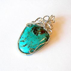 turquoise Kingman Turquoise, Wire Wrapped Pendant, Wire Wrapping, Jewlery, Gemstone Rings, My Style, Trending Outfits, Natural, Unique Jewelry