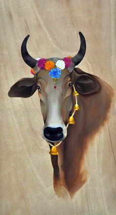 Vaca hindú. Pintura al óleo sobre madera. 120x60cm. Retratos de mascotas Krishna Radha, Hare Krishna, Hanuman, Old Paper Background, Photo Background Images, Hd Dark Wallpapers, Milk Advertising, Yantra Tattoo, Cow Illustration