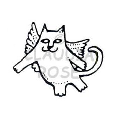 Angel Cat - CR503F - Rubber Art Stamp