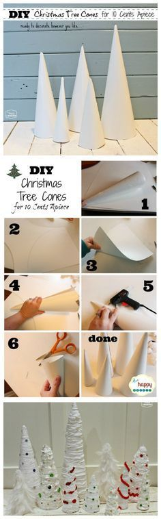 DIY Christmas Tree Cones for ten cents apiece - save money and make your own cone forms for Christmas tree craft projects at The Happy Housie