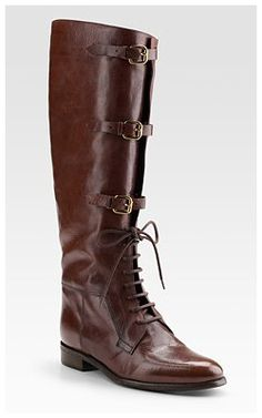 2b0fa4e53ba Burberry Bridle Housecheck Riding Boots Gorgeous leather from Italy with  three-buckle closure and laces.