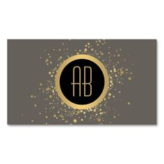 Gold Paint Splatter Business Card Template for Makeup Artists - Personalize with your own initials. Your contact info is elegantly displayed on the backside of the card.