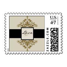 Ivory Black and Gold Damask Wedding Love Stamp