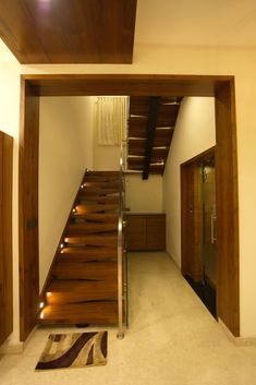 Design Discover Stairs by hasta architects modern Staircase Design Modern, Interior Staircase, Home Stairs Design, Home Room Design, Living Room Designs, Small House Interior Design, Duplex House Design, Hall Design, Loft Design