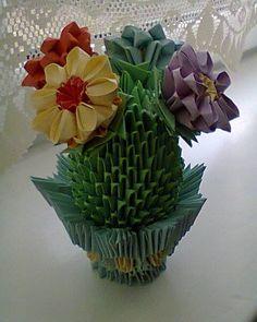 kaktus, origami 3 d, moduły chińskie