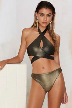 4a1aa89f593 Nasty Gal Dipped in Gold High-Waisted Bikini Bottom - Swimwear Gold High  Waisted Bikinis