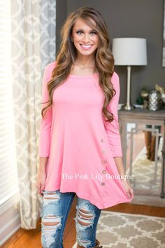 Pink Side Button Tunic - The Pink Lily Boutique