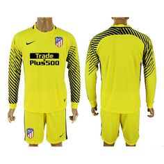 Portero Equipacion Camiseta Atletico de Madrid ML Amarillo 2017-2018    €18.50 70fe399a8be4d