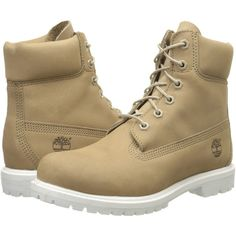 Timberland 6 Premium Boot (Bone Nubuck) Women's Lace-up Boots ($103) ❤ liked on Polyvore featuring shoes, boots, ankle boots, bone, short lace up boots, wide ankle boots, water proof boots, timberland boots and lace up boots