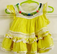 Boho Baby - Adorable Girls Yellow & White Lace Mexican Sun Dress - Childrens Spring Summer Sun Dress