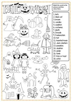 Halloween - matching worksheet - Free ESL printable worksheets made by teachers Maths Halloween, Halloween Vocabulary, Halloween Infantil, Halloween Worksheets, Halloween Words, Halloween Activities, Easy Halloween, Halloween Crafts, Halloween Party