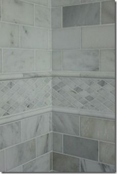 Love the differentiation from opposing tile dimensions being used together. Carrera Marble border - think this idea but in the yellow tones. Imagine a white subway tile field with black accent tile inset with the marble border transitioning them. Bathroom Renos, Bathroom Renovations, Master Bathroom, Bathroom Ideas, Bathroom Marble, Bathroom Designs, Relaxing Bathroom, Master Shower, Attic Bathroom