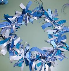 Ribbon Wreath - thinking about making a necklace like this for wear blue day - in honor of Child Abuse Prevention!