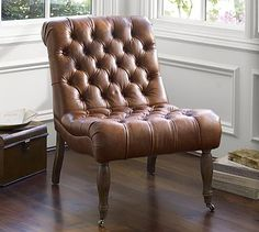 Armless leather chair. Pair for living room.