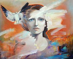 """Woman - Original large conceptual painting in orange, blue & white, woman and dove portrait painting, spray paint art app 32x40"""" (81x100 cm) by MilenskaArt on Etsy"""