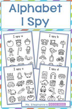 I Spy Alphabet Activity Distance Learning Preschool Toddler Learning Activities, Alphabet Activities, Kids Learning, Kindergarten Songs, Preschool Classroom, Printable Preschool Worksheets, I Spy, Special Education Classroom