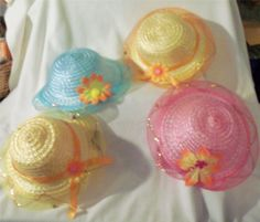 1 Little Girls Straw Tea Party Hat  Dress Up Princess Girly