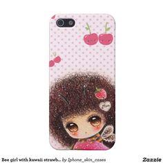 Bee girl with kawaii strawberry case for iPhone 5