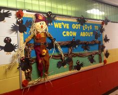 "Fall / harvest / autumn / themed bulletin board. ""We've got lots to crow about."" Borrowed idea from a Pinterest search (see original pin on boards and doors Pinterest board). Students made the crows; I made crow template and they traced their hands for wings"