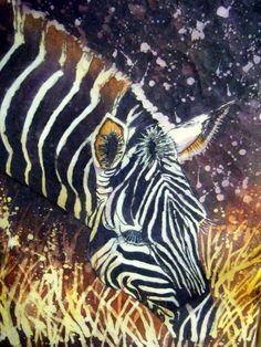 Zebra- Batik Painting-Watercolor on rice paper - WetCanvas--scroll down for batik technique