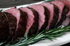 Slow-Roasted Beef Tenderloin with Rosemary. The juiciest, most tender beef ever. A Christmas dinner staple that's guaranteed to please.