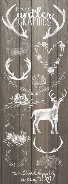 Free Antler Graphics (We Lived Happily Ever After) Hello Everyone! Its been just over a year since I started sharing digital graphic freebies with… Vinyl Projects, Craft Projects, Paper Crafts, Diy Crafts, Wood Crafts, Illustration, Free Graphics, Silhouette Cameo Projects, Chalkboard Art