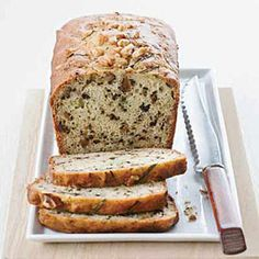 Yogurt-Zucchini Bread with Walnuts:  low-cal Greek yogurt helps keep this luscious tea bread moist without all the fat of traditional baked goods. Walnuts, zucchini, and sweet spices create a hauntingly good flavor combination that makes it hard to believe this quick bread is light. This moist, nutty bread is a terrific way to use up late-summer zucchini. The walnuts in the bread are super-heart-healthy, and the yogurt adds moisture without any fat.