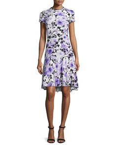 Short-Sleeve Floral-Print Cocktail Dress, Purple/White by Naeem Khan at Neiman Marcus.