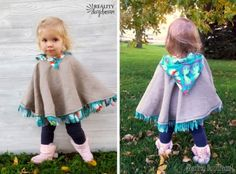 Make this darling fleece-lined poncho as your toddlers jacket or winter coat! No need to take off before buckling into car seat!