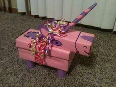 Pink unicorn valentine box, horse valentine box