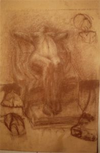 L. Brown III - Nude arched with conte on craft paper