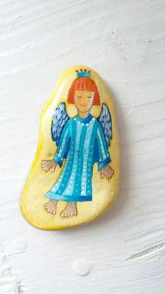 Original Miniature Art, OOAK, Christmas Angel, Painted Rock Art, Original Art, Miniature Art, Painted Rock, Friendship Gift, Angel Art.