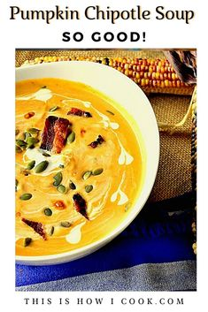 This simple and delish smoky pumpkin soup is ready for any occasion! #soups #pumpkin #Thanksgivingfood Best Soup Recipes, Healthy Soup Recipes, Fall Recipes, Chilled Soup, Quick And Easy Soup, Barley Soup, Bowl Of Soup, Pumpkin Soup, Football Food