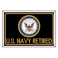 0935423d482 U.S. Navy  Retired (Black) Banner on CafePress.com Navy Veteran