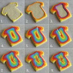 Tie dye shirt cookies