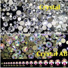 Mix ss3-ss30 Crystal AB and Clear Shinning Designs Non hotfix Flatback Nail Rhinestones 3d Nail Art Decorations Glitter Gems