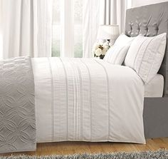 100% Cotton Duvet Cover Set , Luxury White Comforter Set with Trim & Embroidery,King