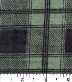 Anti Pill Fleece Fabric-Bedford Green Black Plaid