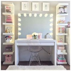 125 Amazing Teen Girl Bedroom Decor Ideas - Page 2 of 2 - Kyleigh's New Room - Sala Glam, Vanity Room, Closet Vanity, Closet Mirror, Corner Vanity, Glam Room, Makeup Rooms, Room Goals, Dream Rooms