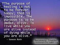 "The purpose of healing is not to be forever happy; that is impossible. The purpose is to be awake, alive. To live while you are alive instead of dying while you are alive."" - Geneen Roth"