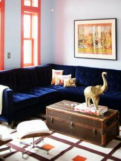 blue sofa plus trunk as coffee table