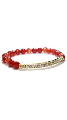 Red Agate Crystal Bar Bracelet. Gorgeous!  I'll take this in any stone.