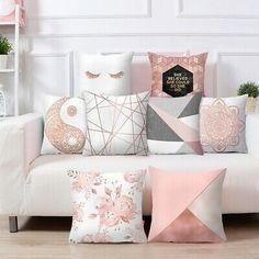 Urijk Lash Pillowcase Rose Gold Square Cushion Cover Geometric Dreamlike Polyester Throw Pillow Cover Home Decor Sofa Throw Pillows, Pink Pillows, Cushions On Sofa, Decor Pillows, Grey Sofa Throw, Rose Gold Throw Pillows, Cute Cushions, Burlap Pillows, Bed Sofa