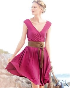 Goddess Knit Dress- I'll take one in every color.  And the belt too. #Garnet Hill